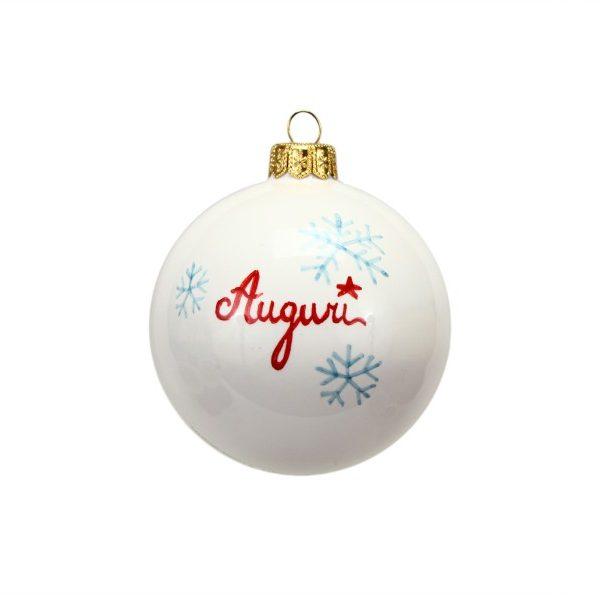 40NAT_Pallina di Natale in ceramica Babbo e renna dipinto a mano Auguri retro_Ceramiche Liberati