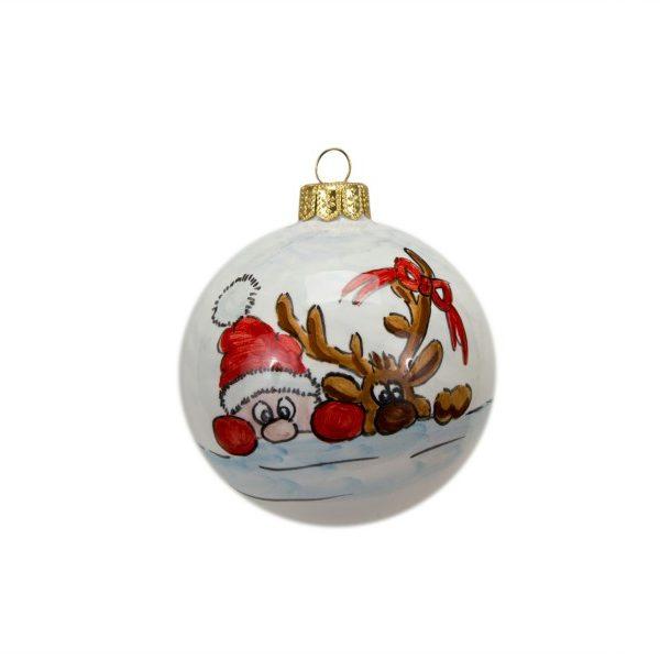 40NAT_Pallina di Natale in ceramica Babbo e renna dipinto a mano tonda_Ceramiche Liberati