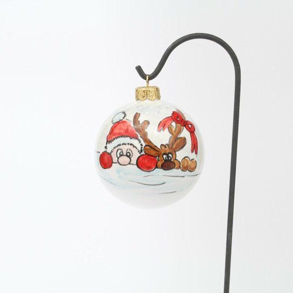 Pallina di Natale Babbo Natale dipinto a mano Ceramiche Liberati
