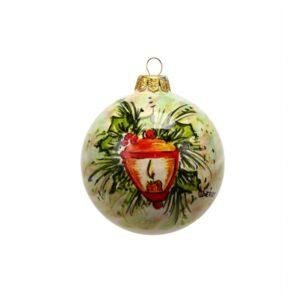 Pallina natalizia lanterna in ceramica dipinto a mano da Ceramiche Liberati