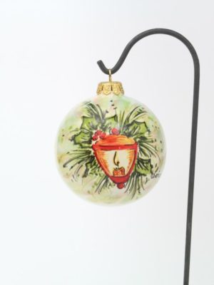 Ceramic, hand-painted Christmas ball with Christmas lantern by Ceramiche Liberati