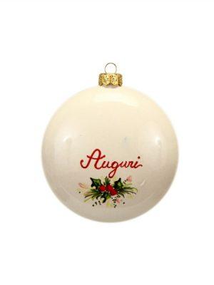 Retro Pallina natalizia campanelle a forma schiacciata Ceramiche LIBERATI