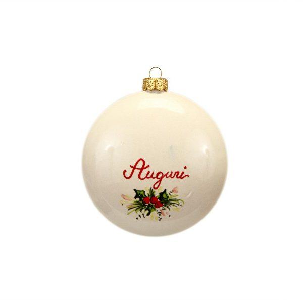 42NAT_PAllina di Natale in ceramica Campanelle dipinte a mano Auguri retro_Ceramiche Liberati