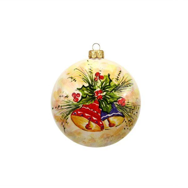 42NAT_PAllina di Natale in ceramica Campanelle dipinte a mano colori_Ceramiche Liberati
