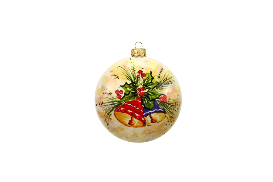 Christmas Bells Images.Hand Painted Ceramic Christmas Ball With Christmas Bells