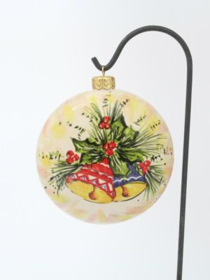 Flattened, ceramic Christmas ball with Christmas bells by Ceramiche Liberati