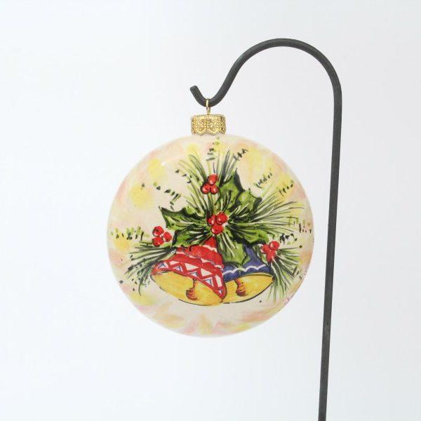 Pallina natalizia campanelle a forma schiacciata Ceramiche LIBERATI