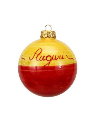 Pallina natalizia campanelle fascia bicolore Ceramiche Liberati