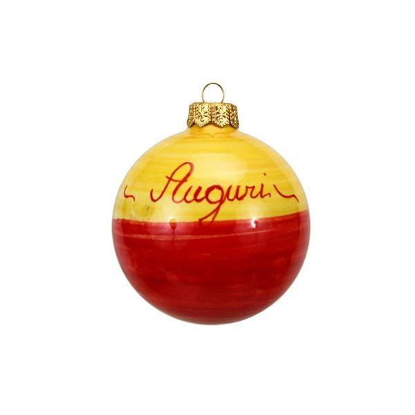43NAT_Pallina per albero di Natale in ceramica Campanelle blu e rosso Auguri retro_Ceramiche Liberati
