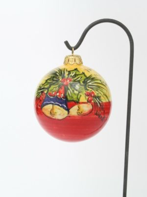 Ceramic Christmas ball with bells and bicolor band by Ceramiche Liberati