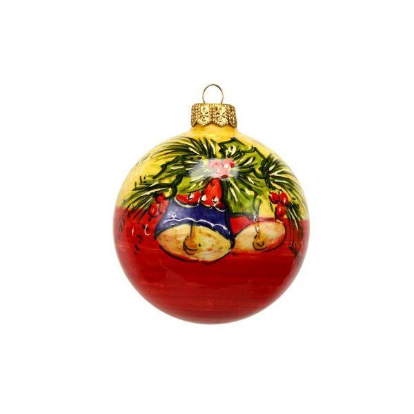 43NAT_Pallina per albero di Natale in ceramica Campanelle blu rosso_Ceramiche Liberati