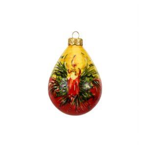 Pallina in ceramica italiana Candela natalizia dipinto a mano di Ceramiche Liberati