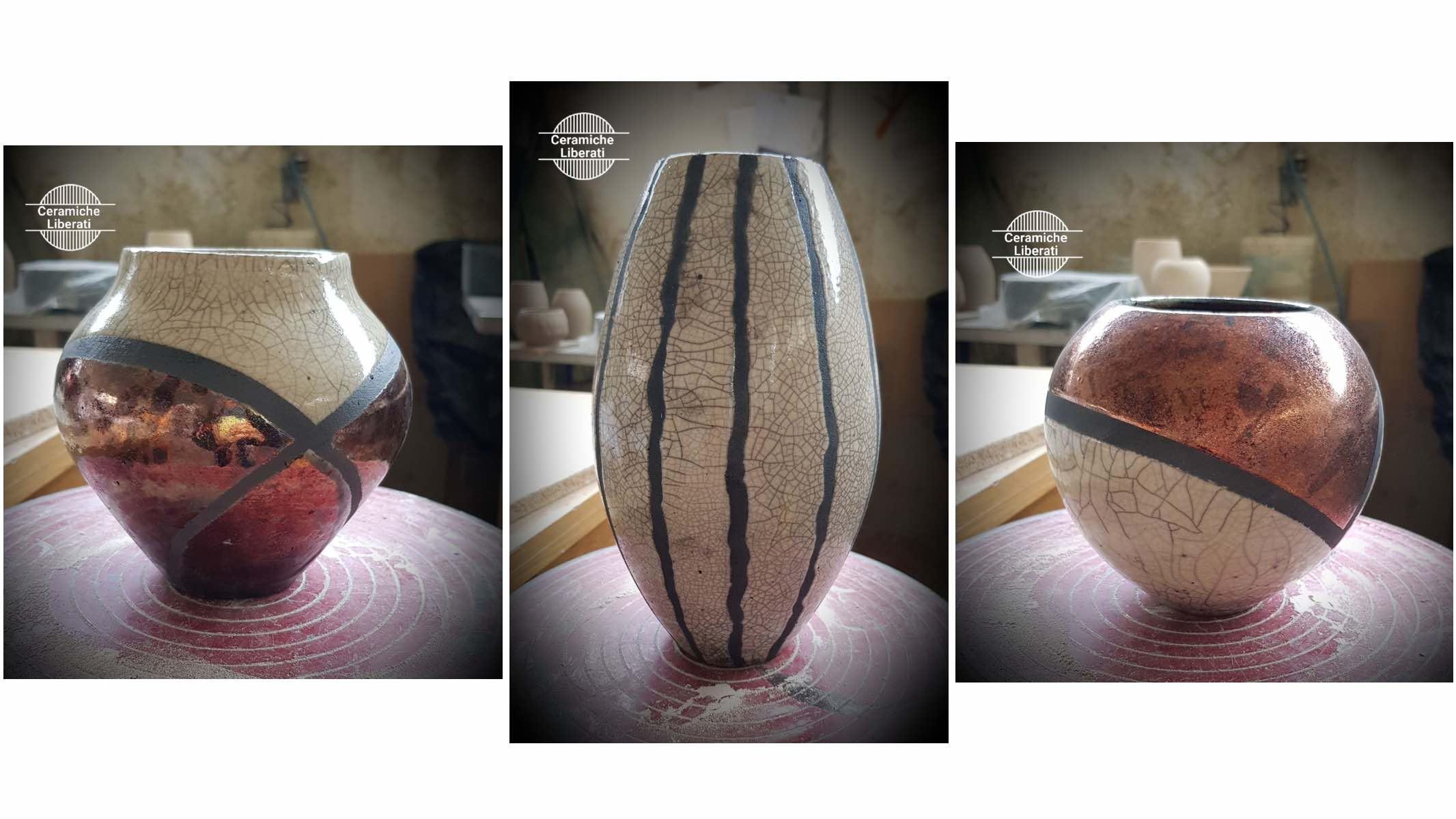 Vasi in ceramica realizzati con la tecnica raku - Ceramiche Liberati