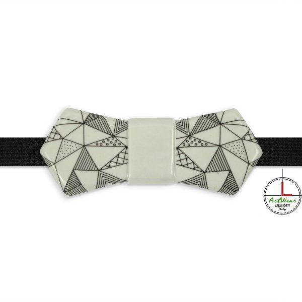 Papillon in ceramica modello Evo decoro Ipotenusa b/n di Ceramiche Liberati