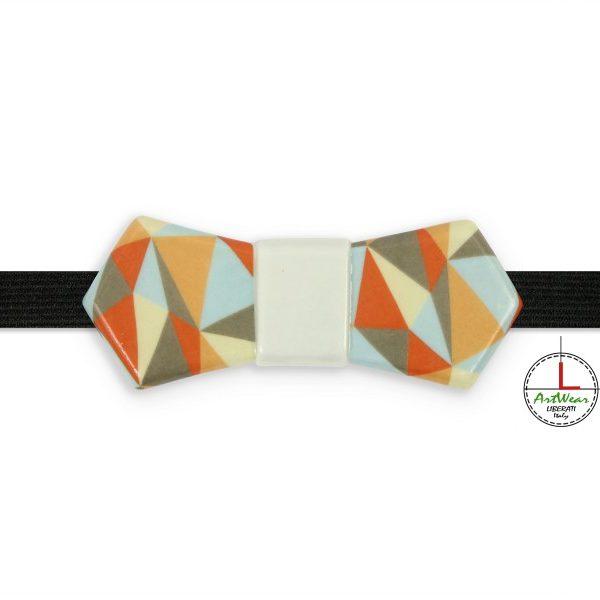 Papillon in ceramica artigianale decoro Ipotenusa a colori di Ceramiche Liberati