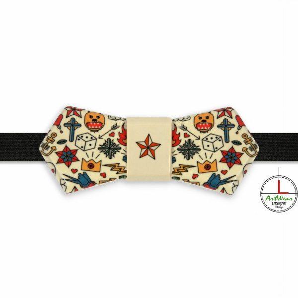 Papillon in ceramica originale modello Evo decoro Old School avorio di Ceramiche Liberati