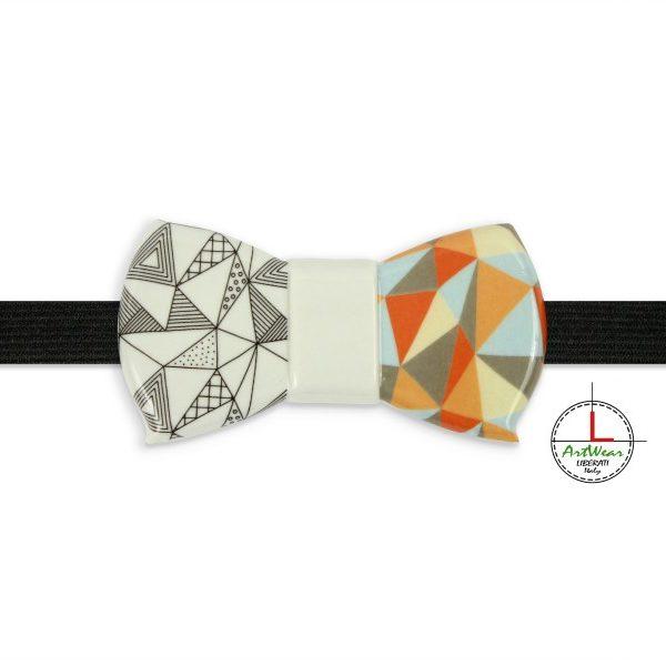 Papillon in ceramica modello Romantico decoro Ipotenusa bicolor di Ceramiche Liberati