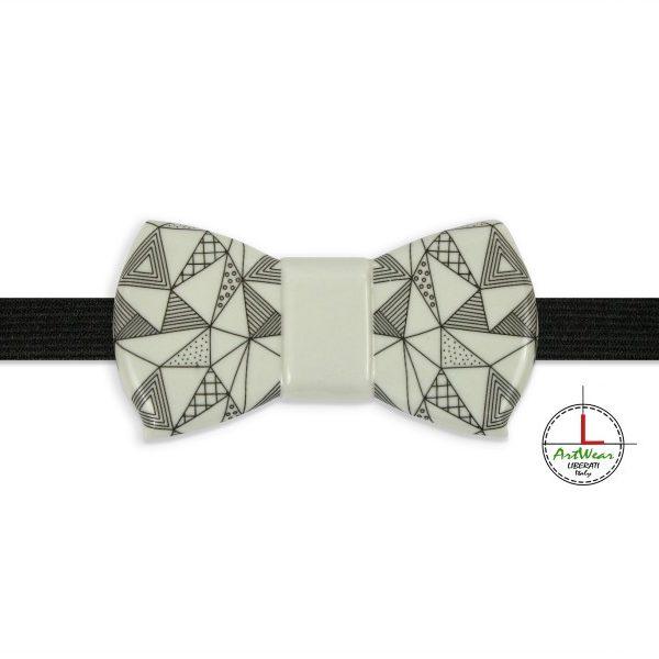 Papillon in ceramica modello Romantico decoro Ipotenusa bianco e nero di Ceramiche Liberati