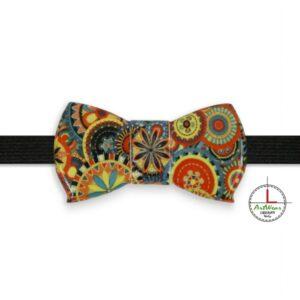 Papillon in ceramica unisex modello Romantico decoro mandala a colori di Ceramiche Liberati