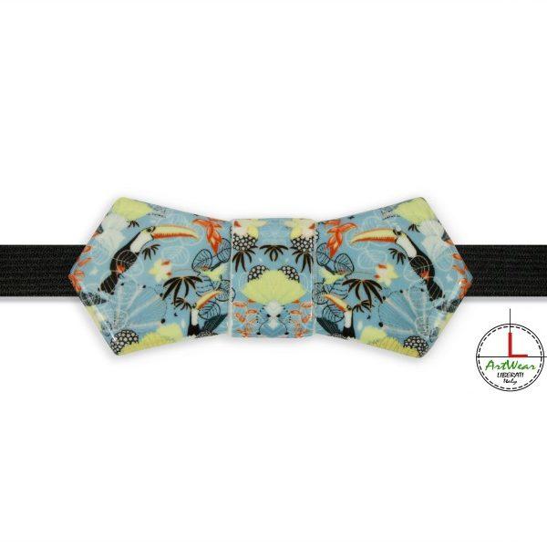 Papillon in ceramica modello Evo con il decoro Tropical Chic di Ceramiche Liberati