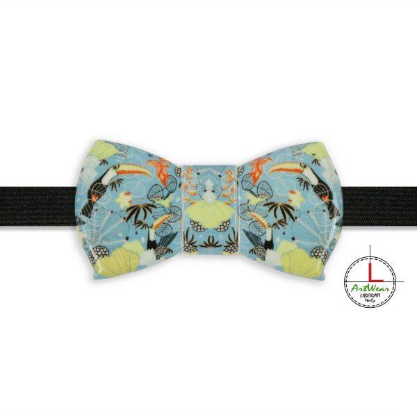 Papillon in ceramica modello Romantico con il decoro Tropical Chic di Ceramiche Liberati