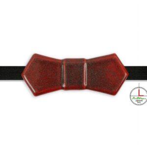"""Papillon in ceramica artigianale modello Evo colore rosso con glitter """"Brillante"""" di Ceramiche Liberati"""