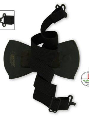 Retro Papillon in ceramica italiana modello Romantico nero vista con cordoncino elastico_Ceramiche Liberati ArtWear