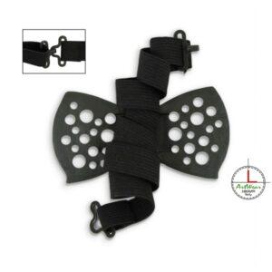 Foto del papillon dietro con laccio e chiusura visibile. Ceramiche Liberati
