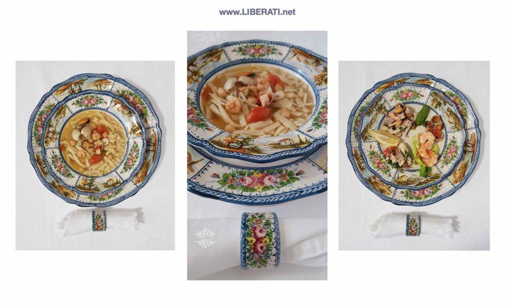 Servizi di piatti in ceramica artigianale decoro paesaggio e Fioraccio di Ceramiche Liberati