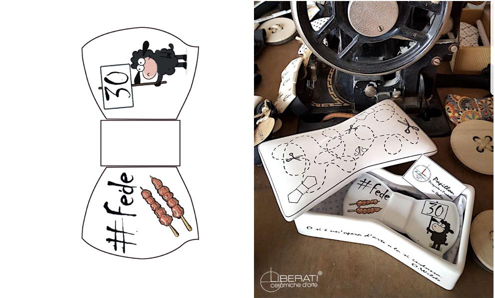 Papillon personalizzabile in ceramica artigianale Ceramiche Liberati