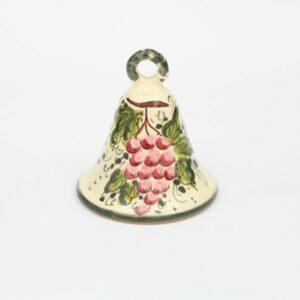 Campanella in ceramica Uva rosa dipinto a mano