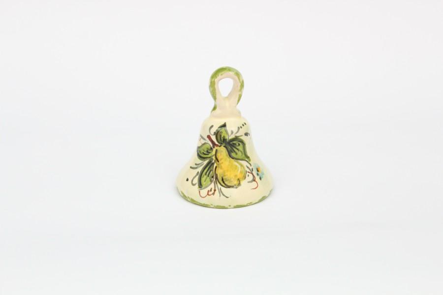 Magnete campanella decoro pera verde con foglie dipinto a mano