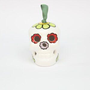 Campanella in ceramica a forma di Teschio Messicano bianco