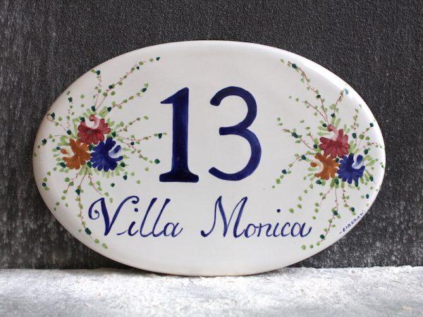 Ovale in ceramica numero civico dipinto a mano_Ceramiche Liberati