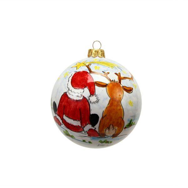 46NAT_Pallina in ceramica con Babbo Natale, renna e Stella cometa_Ceramiche Liberati