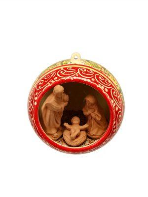 Sfera in ceramica con Presepe incorporato fascia rosso arancio verde, Ceramiche Liberati