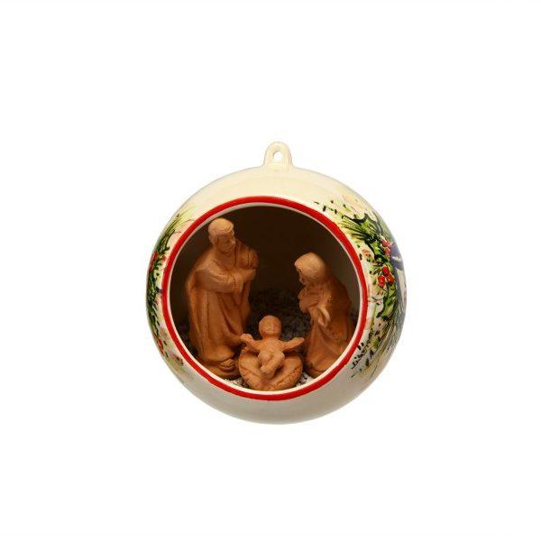Sfera ceramica con Presepe incorporato decoro lanterne rosso e blu, Ceramiche Liberati