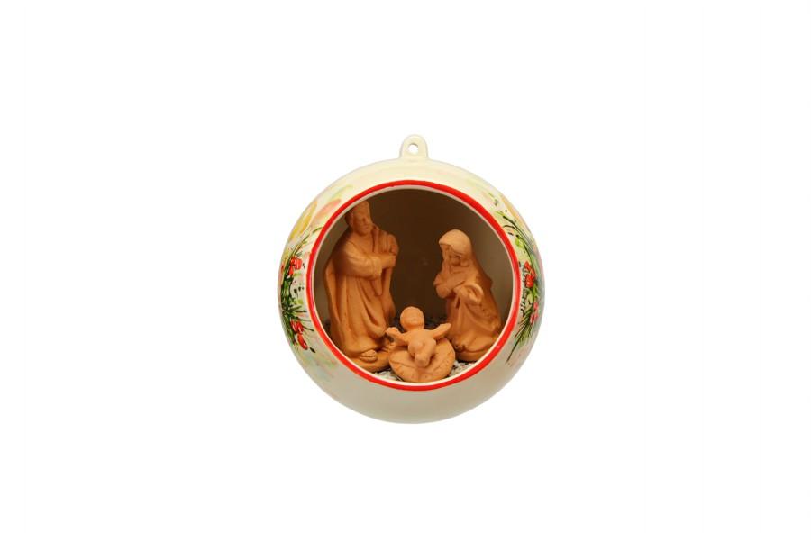 Sfera ceramica con Presepe nativita incorporato decoro candele, Ceramiche Liberati