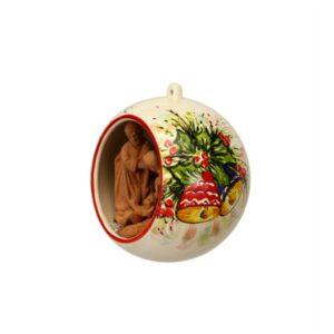 Sfera ceramica con Presepe in terracotta decoro campanelle natalizie, Ceramiche Liberati