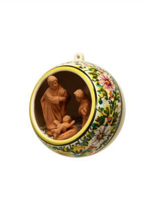 Sfera di ceramica con Presepe decoro a fascia di margherite a colori, Ceramiche Liberati