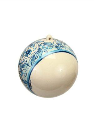 Sfera di ceramica con Presepe incorporato decoro floreale a fascia blu, Ceramiche Liberati