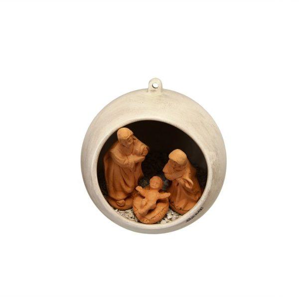 Sfera di Natale con Presepe incorporato in ceramica patinata, Ceramiche Liberati