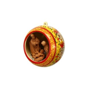 Sfera ceramica con Presepe nativita decoro a fascia rosso e arancio , Ceramiche Liberati