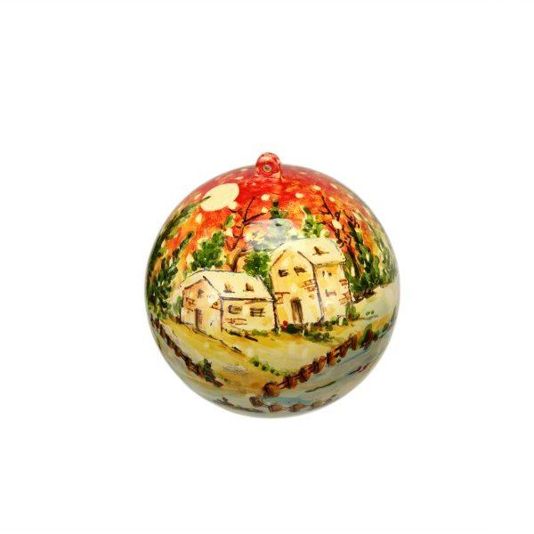 Sfera con Presepe in ceramica a vista decoro paesaggio a colori, Ceramiche Liberati