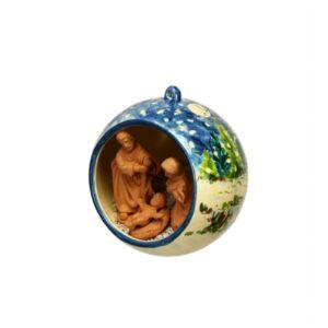 Sfera con Presepe in ceramica decoro paesaggio a colori con cielo blu, Ceramiche Liberati