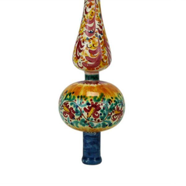 Puntale in ceramica per albero di Natale decorato a mano