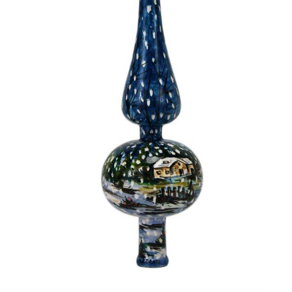 Puntale in ceramica per albero di Natale con paesaggio invernale blu, Ceramiche Liberati