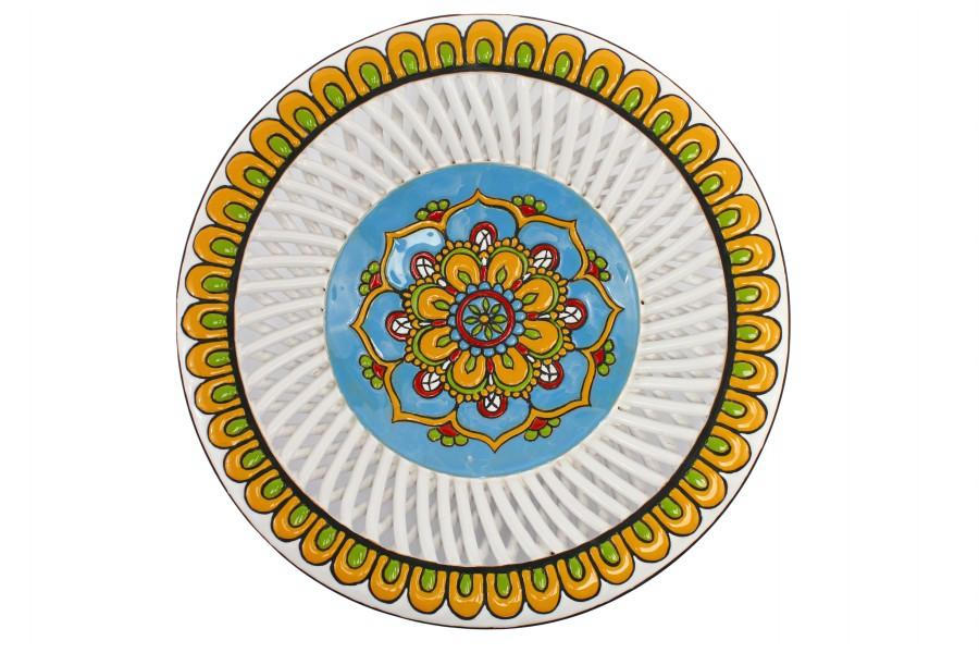 Centrotavola in ceramica cuerda seca con bordo intrecciato, Ceramiche Liberati