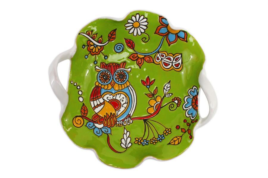 Centrotavola fruttiera in ceramica cuerda seca con due manici Gufo, Ceramiche Liberati