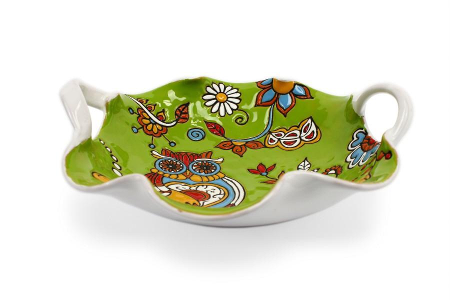 Centrotavola fruttiera in ceramica cuerda seca con due manici, Ceramiche Liberati